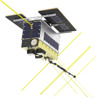 NorSat-2 with VDE antennas deployed. Credit: UTIAS/SFL