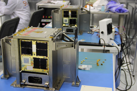 Together, the satellites are known as the BRITE-Constellation, standing for BRIght Target Explorer. (Image: UTIAS – Space Flight Laboratory)