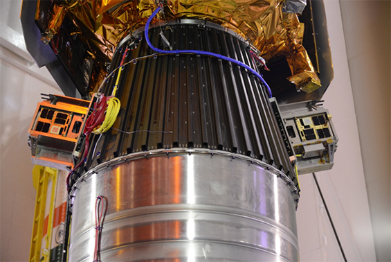 Figure 3: CanX-4 and CanX-5 on PSLV Payload Launch Adapter beneath SPOT-7
